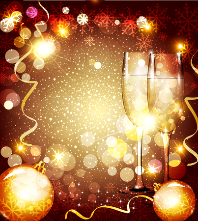 christmas background with two glasses and christmas balls Vector