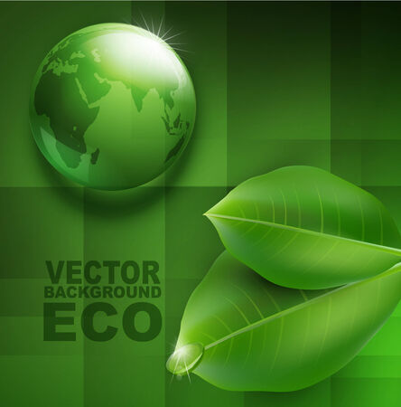 vector environmental background with transparent green ball-globe and leaves Vector