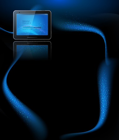 surfing the net: vector black tablet pad with a blue screen and a reflection on a blue background  Illustration