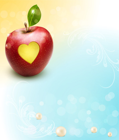 natural health: vector red apple with carved heart on a celebratory background