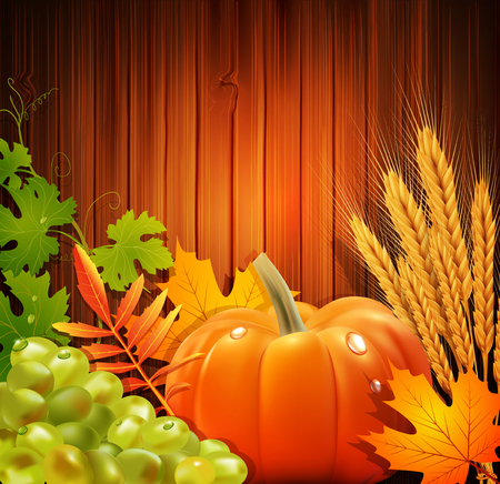 Vector background for Thanksgiving Day with apples, ears of wheat, grapes, apple Vector
