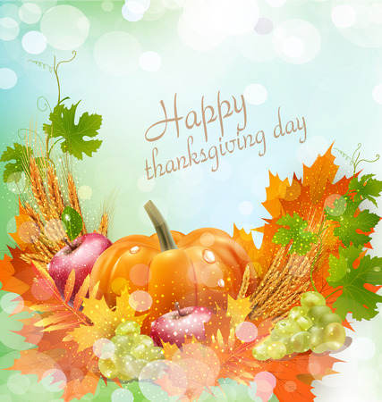 sacking: Vector background for Thanksgiving Day with apples, ears of wheat, grapes, apple