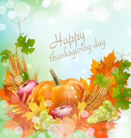 Vector de fondo para el Día de Acción de Gracias con manzanas, espigas de trigo, uvas, manzana