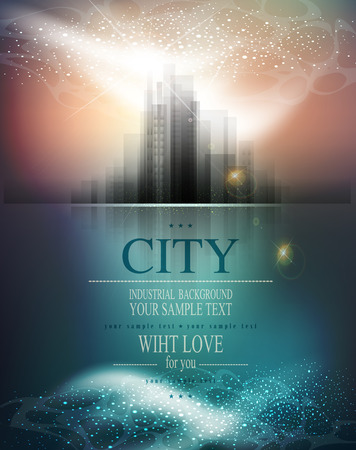 graphic backgrounds: vector banner for business with the city and reflection