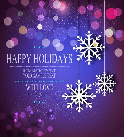 happy new year banner: Christmas holiday background with snowflakes Illustration
