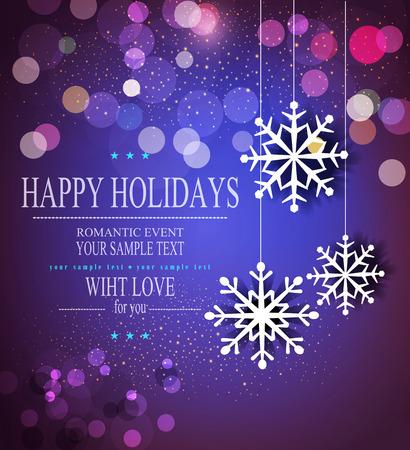 muerdago navide�  � �±o: Fondo de vacaciones de Navidad con copos de nieve