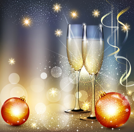celebration eve: vector romantic christmas background with two glasses and christmas balls
