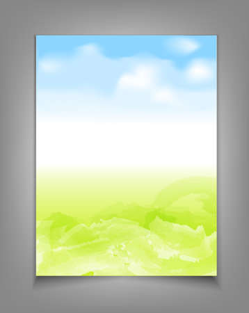publisher: vector business template with blue sky and green grass