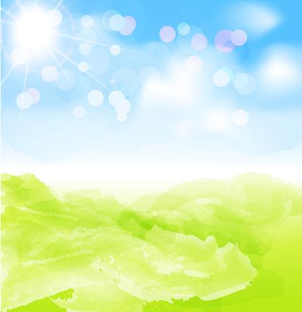 sun blue sky: vector background with sun, blue sky