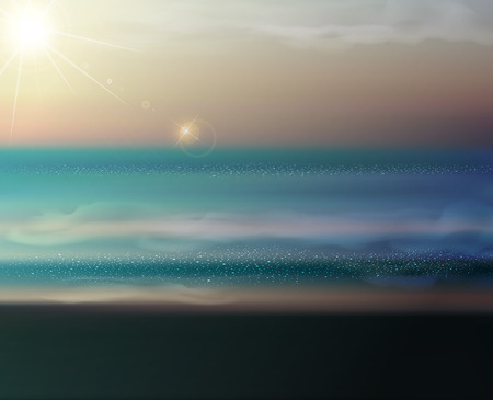 cross processed: vector sea landscape with the setting sun