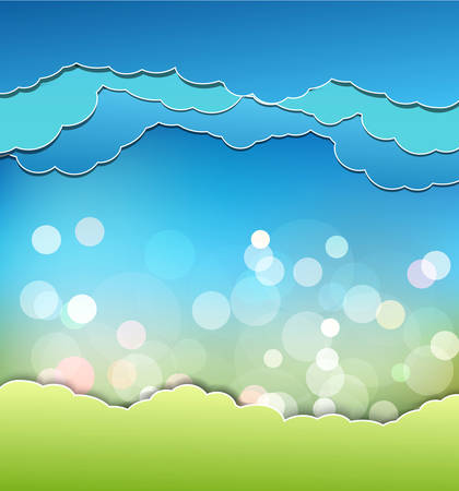 sun blue sky: vector background with decoration: sun, blue sky and clouds
