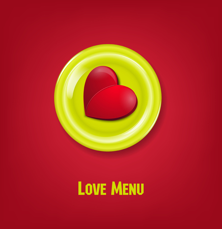 linked services: vector festive creative background for Valentines day with heart on a plate Illustration