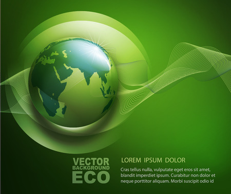 vector abstract background for ecological design with a leaf, a drop and globе Çizim