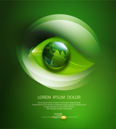 abstract eye: vector abstract background for ecological design with a leaf, a drop and globе