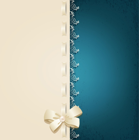 lacing: vector template for wedding background with lace, satin ribbon and lacing