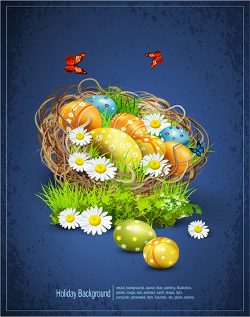 easter background: Vector Easter background with eggs and nest Illustration