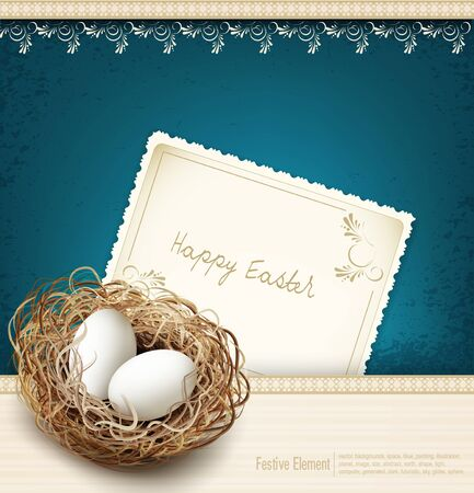 vector eggs: vector easter, vintage background with a nest and eggs