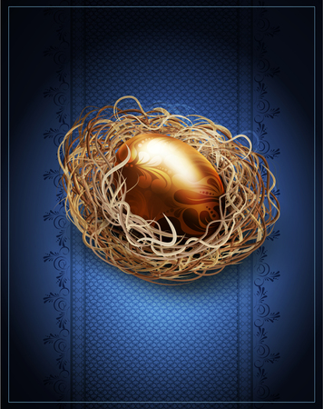 goldish: vector easter, vintage background with a golden egg in the nest