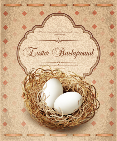 easter nest: vector easter, vintage background with a nest and eggs