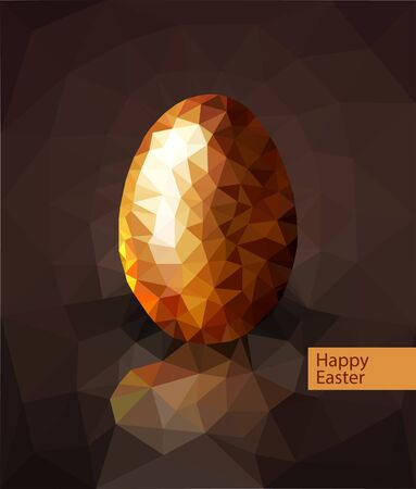 goldish: vector golden egg from the mosaics (triangles) for Easter Illustration