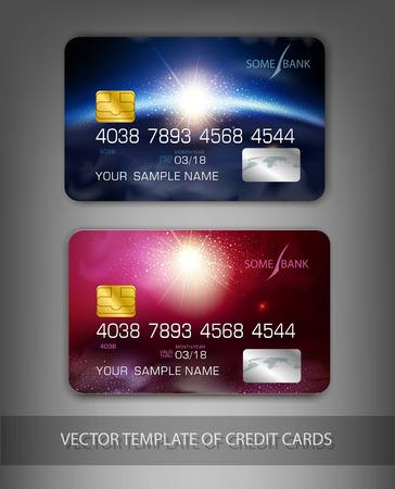 현대적인 디자인 벡터 템플릿 신용 카드 (공간) 일러스트