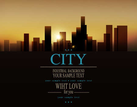 vector background with urban landscape (buildings and sunrise)