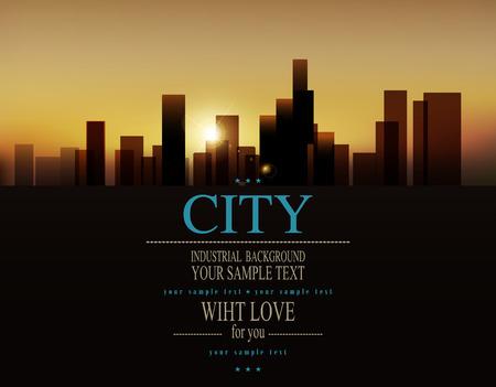 comercial: vector de fondo con paisaje urbano (edificios y la salida del sol)