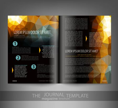publisher: vector template print edition of the journal with an abstract pattern of triangles