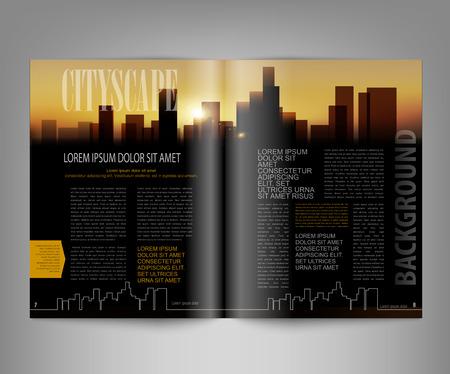 edición impresa plantilla vector de la revista con la ciudad de noche