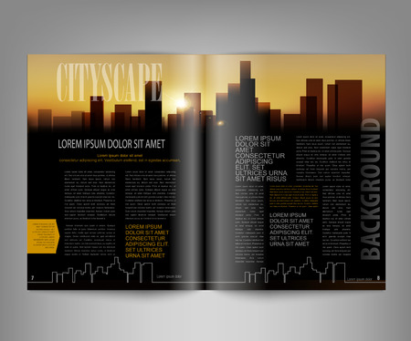 page layout: vector template print edition of the magazine with night city