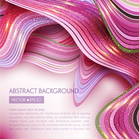 concave: pink vector abstract background with  waves Illustration