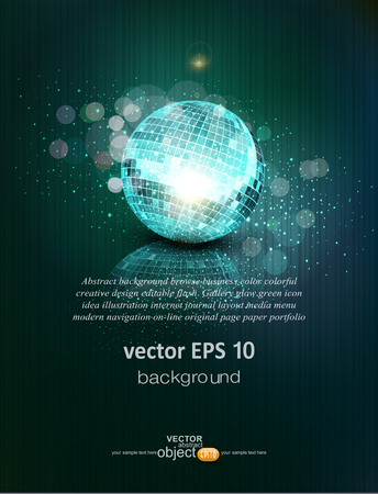 mirror ball: vector background with a mirror ball and reflection