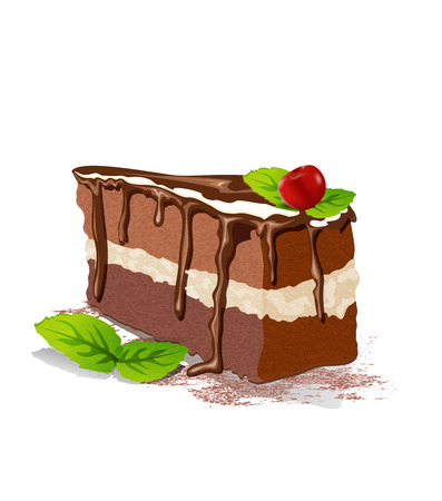 Vector piece of cake with cream and cherry on a white background Imagens - 39990971