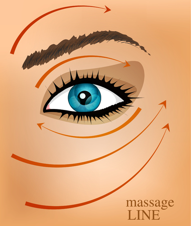 head massage: vector background with part of the face and massage lines Illustration
