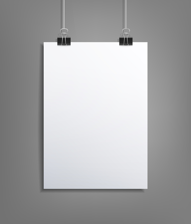 Vector background with a piece of paper hanging on the wall (element for design, template) Vector