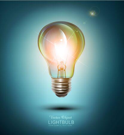 lightbulb: vector  lightbulb on a blue background