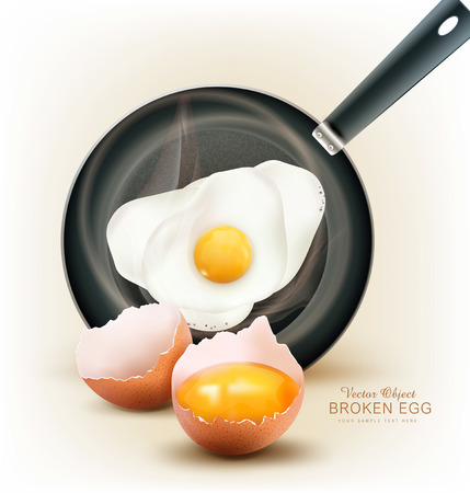 scrambled eggs: vector fried egg in a frying pan and broken egg