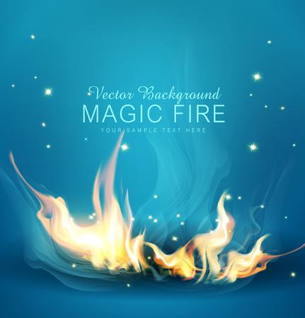 Vector blauen Hintergrund mit einem brennenden Feuer