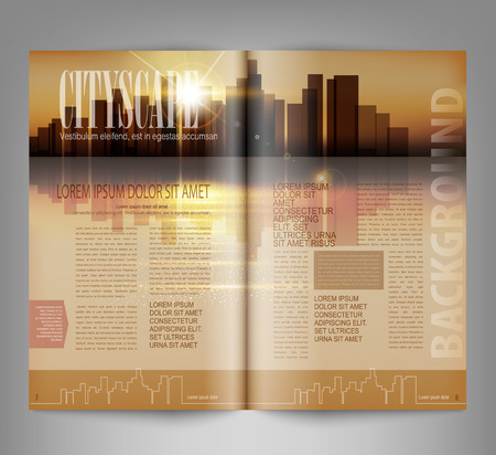 magazines: vector template print edition of the magazine with night city