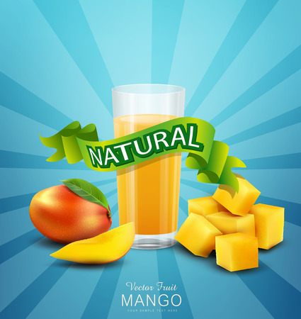 jugo de frutas: vector de fondo con mango y vaso de jugo de mango Vectores