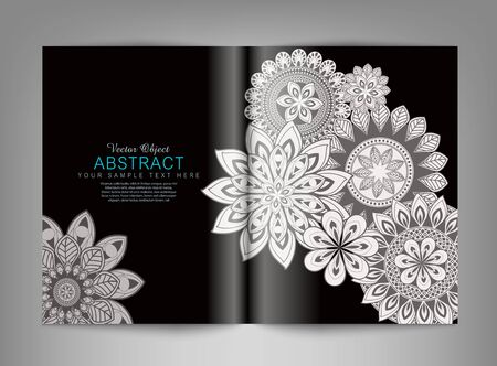 Vector reversal (template) magazine with black and white ornaments Illustration