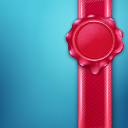 signet: vector wax seal with red  ribbon on a blue background Illustration