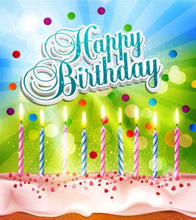 cake background: vector background for birthday with a cake and candles