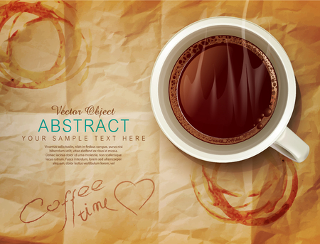 drinking coffee: vector background with a cup of coffee and coffee stains on old paper