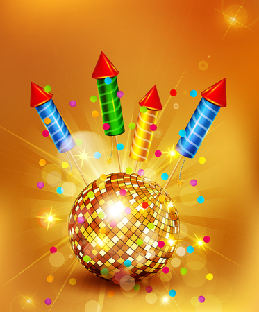 explosion: Vector festive background with glass disco ball and firecrackers