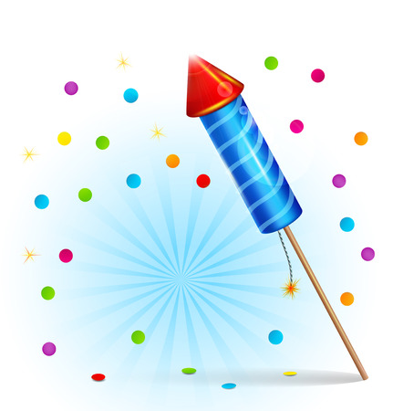 welcoming party: Vector festive background with firecrackers and confetti