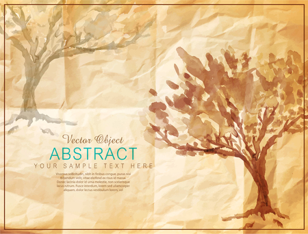 crumpled: vector tree painted on old crumpled paper Illustration