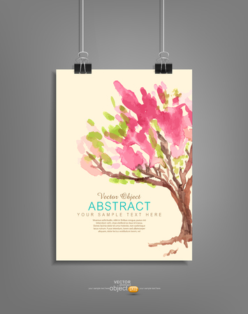 paper clip: Vector hanging template for graphic design with a painted tree