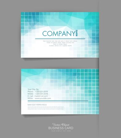 call card: Vector template business card with blue geometric background Illustration