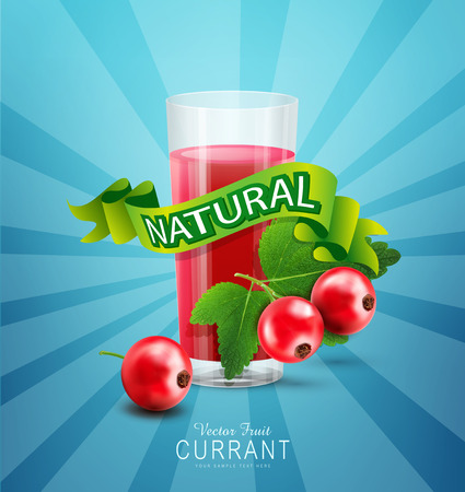 currants: Vector blue background with red currants, fresh juice of red currants and green ribbon